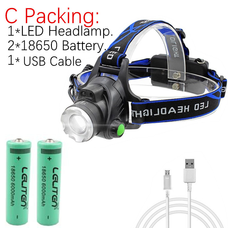 Rechargeable Headlight 8000Lm XM-T6 3Led HeadLamp head light Fishing Lamp Huntin