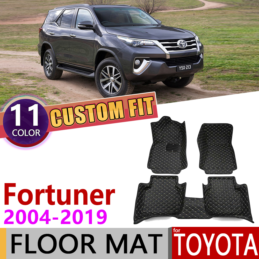 Custom Leather Car Floor Mats For Toyota Fortuner SW4 AN50 AN60 AN150 AN160 2004~2019 7Seats Foot Pad Carpet Accessories 2005