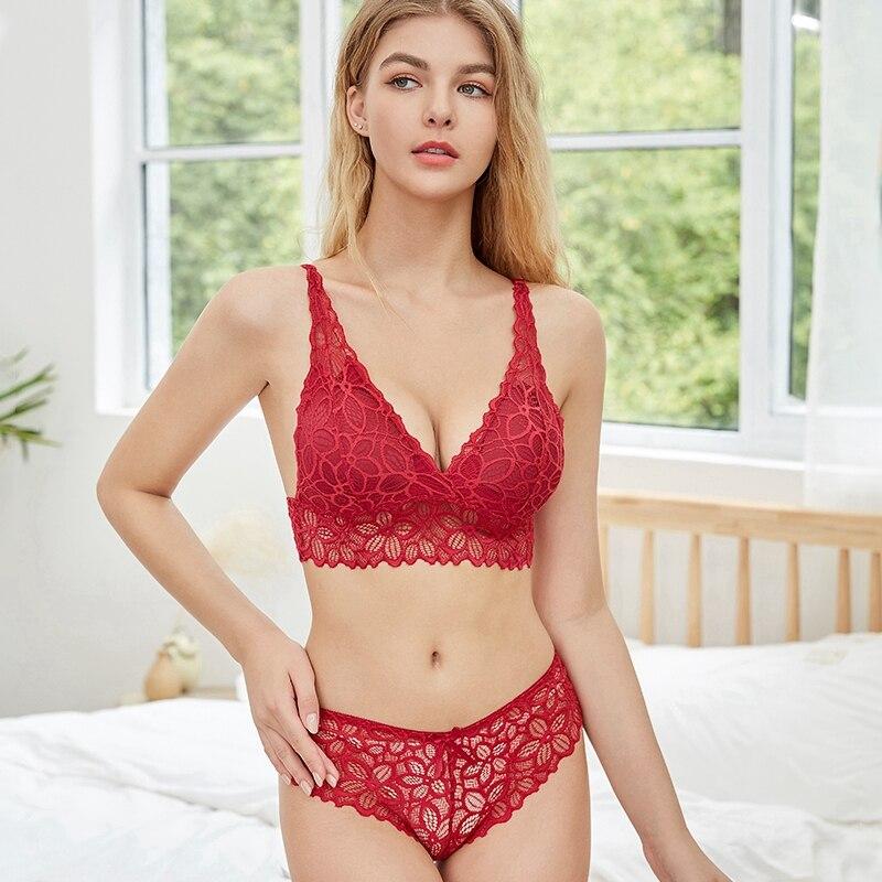 Lace Bra Sets   Seamless Underwear   Backless Vest Sexy Padded Bra   Ultrathin Bra & Brief Sets 5
