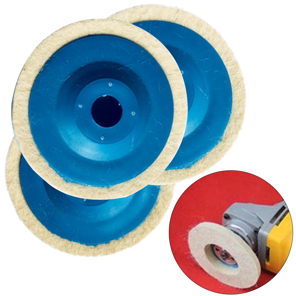 3pcs 100mm Polishing Disc Wool Buffing Angle Grinder Wheel Polishing Disc Pad