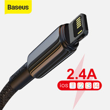 Baseus USB kablosu iPhone 12 11 Pro XS Max XR X 8 7 6S 2.4A hızlı şarj veri kablo için iPad Mini hava cep telefonu tel kordon