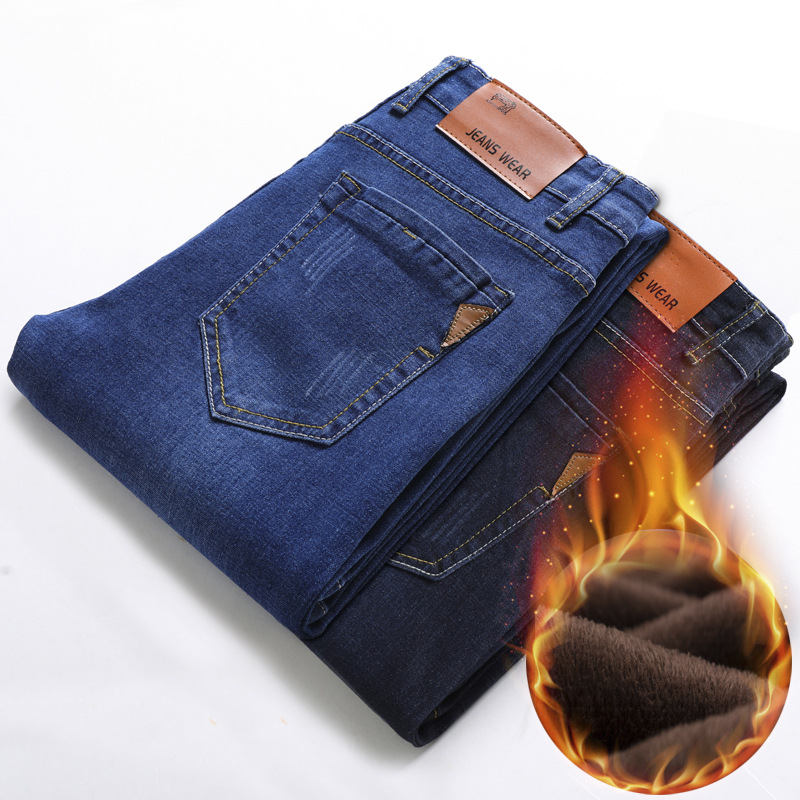 2020 New Arrival Men Warm Jeans High Quality Famous Brand Autumn Winter Jeans Thicken Fleece Men Jeans Long Trouser Jean Pants