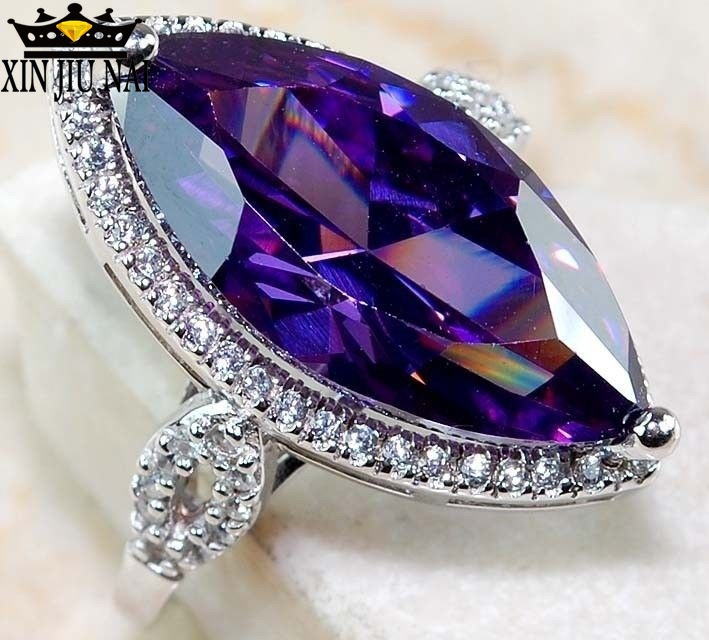 Hot Sale Oval Purple Semi-precious Stone 925 Silver Purple Mysterious Zircon Ring, Massive Olivine Shape Wedding Ring Girl(China)