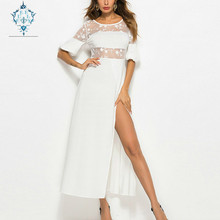 CURLY 2019 new fashion mesh high split solid dress Hollow out lace Patchwork Maxi Dress puff half sleeves nightclub sexy dresses