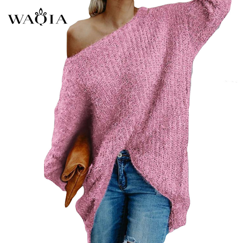 Womens off the shoulder knit pullover Autumn long sleeve Knitted Sweaters 19 Winter Tops For Women Pullover Jumper Pull Femme 8
