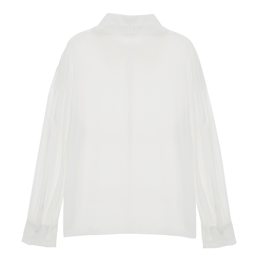 H06fbfd6a61e14bf58c61f69e38e65e56H - Spring / Autumn Korean Frilled Turn-Down Collar Long Sleeves One-Button Cuffs Solid Blouse