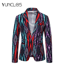 New Fashion Casual Folk-custom Men Suit Long Sleeve Slim Fit Blazer One Button Party Jackets For Cotton M-3XL