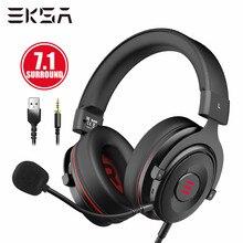 Eksa gamer headset 7.1 surround sound gaming headphon e900 pro fones de ouvido com fio para pc/xbox/ps4 com microfone com cancelamento de ruído
