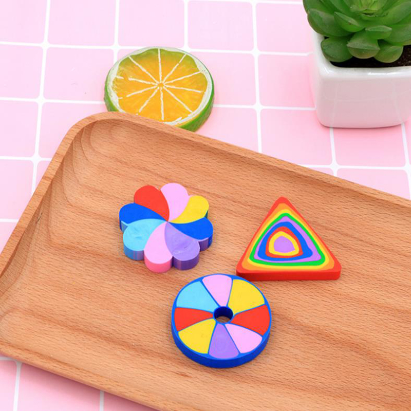 2 Pcs/set Rainbow Color Rubber Pencil Erasers Office Stationery Learning Drawing Sketch Eraser School Student Gift