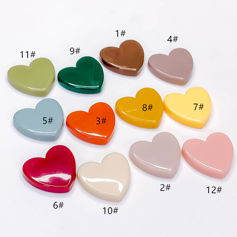 10pcs Multicolors Resin Macaron Heart Shaped Embellishments Craft Charms 21x24mm