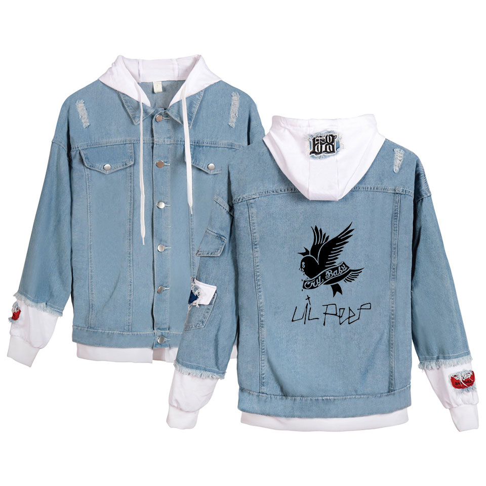 Lil Peep Jeans Hoodies Young People Autumn New Fashion Lil Peep Denim Jean Wear Men/women Popular Stitching Jacket Casual Tops