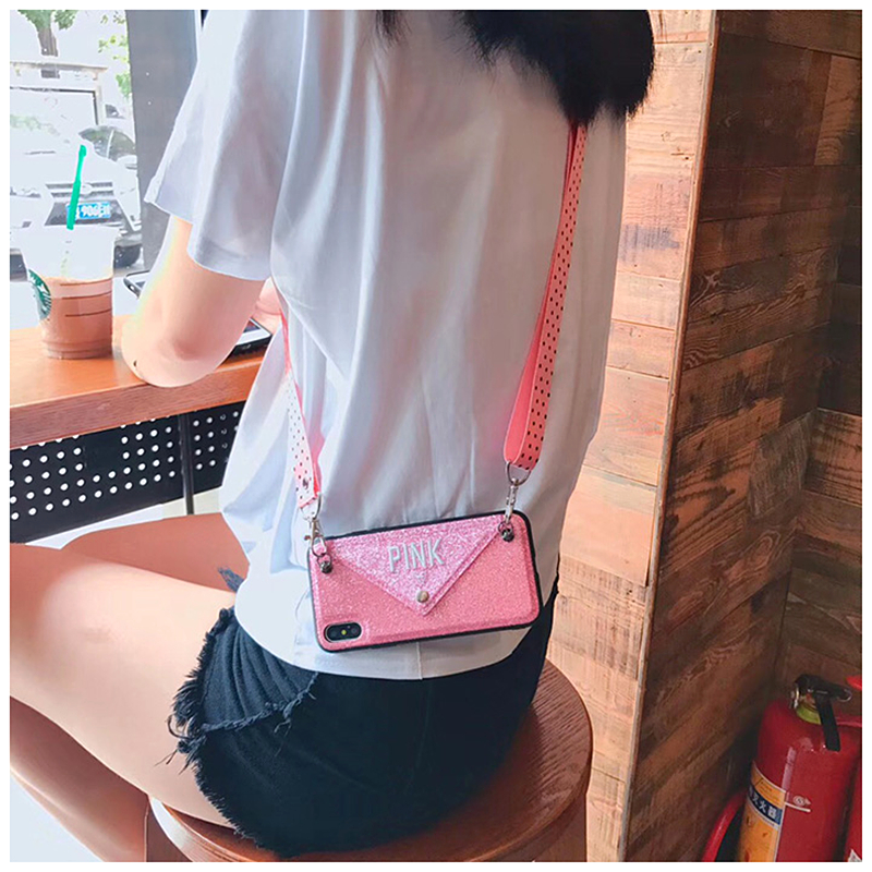 Luxury Pink Victoria Secret Glitter Embroidery Leather Phone Case For iphone 7 Case Xs Max X 8 6 6sPlus Wave Point Lanyard Cover