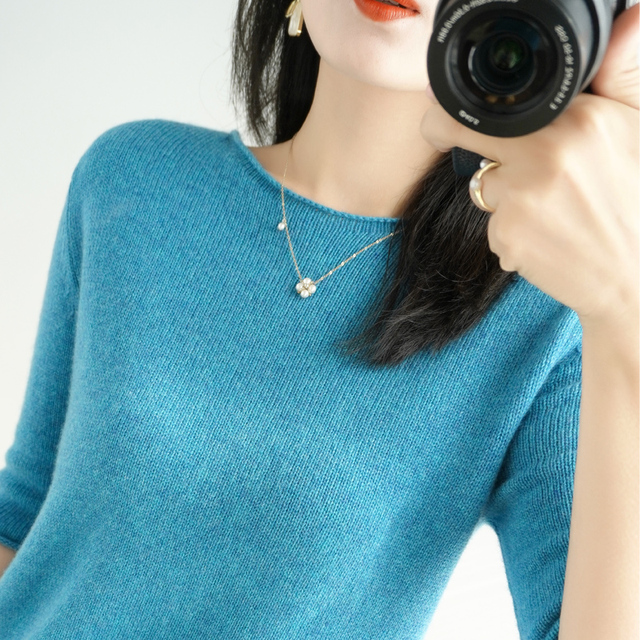 women's sweater short sleeves solid curling o-neck knitted top short stylish casual pullover jumper elastic jacket sweater 3
