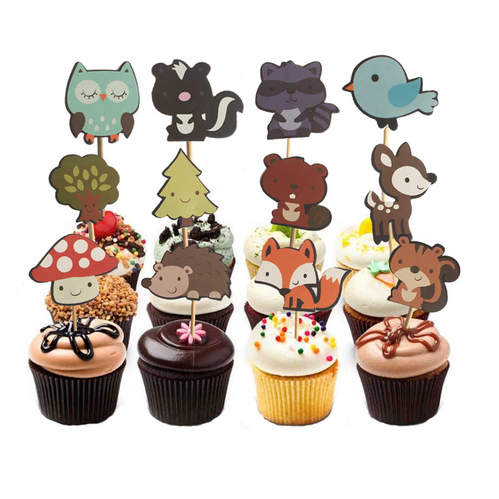 24pcs Woodland Creatures Cake Toppers Jungle Forest Animal Cupcake Toppers for Kid's Birthday Party Decorations Dessert supplies