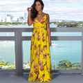 Novo vestido de verão sexy sling profundo decote em v sem costas vestido feminino elegante vestidos de festa vestidos florais praia vestido de férias