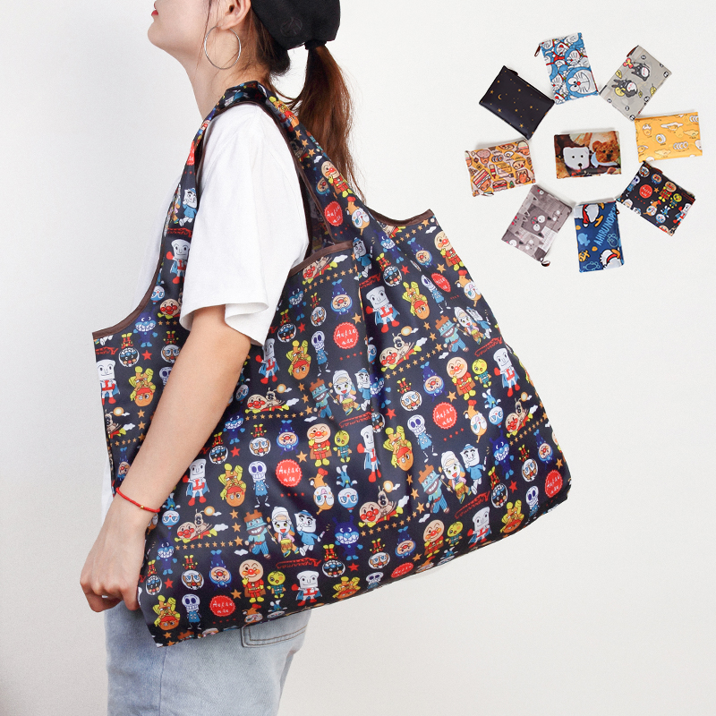 Handbags Tote Pouch Large-Capacity-Storage-Bags Eco-Friendly Folding Printing New-Fashion