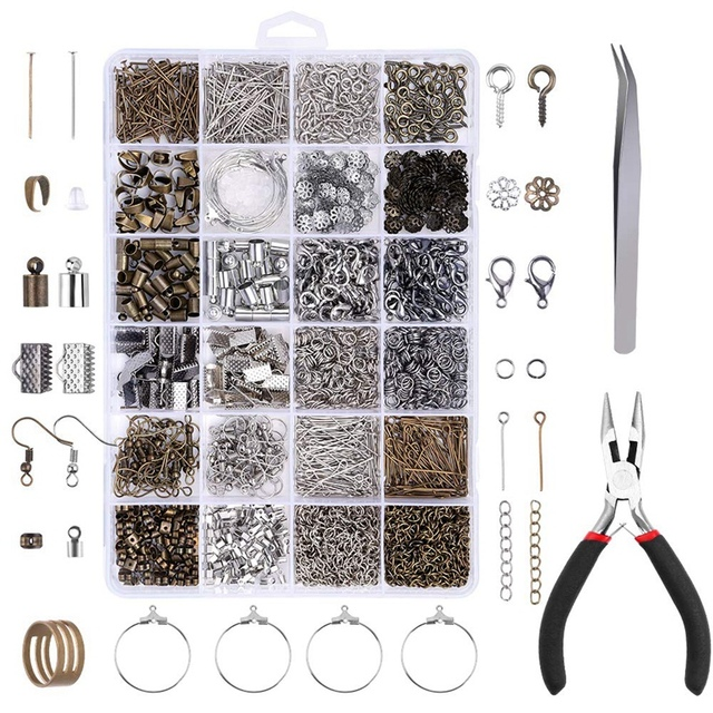 24 Grid Jewelry Accessories Combination Set Closed Ring Lobster Buckle Wine Glass Ring Weight Sheep Eye Nail Nine Needle T Needl