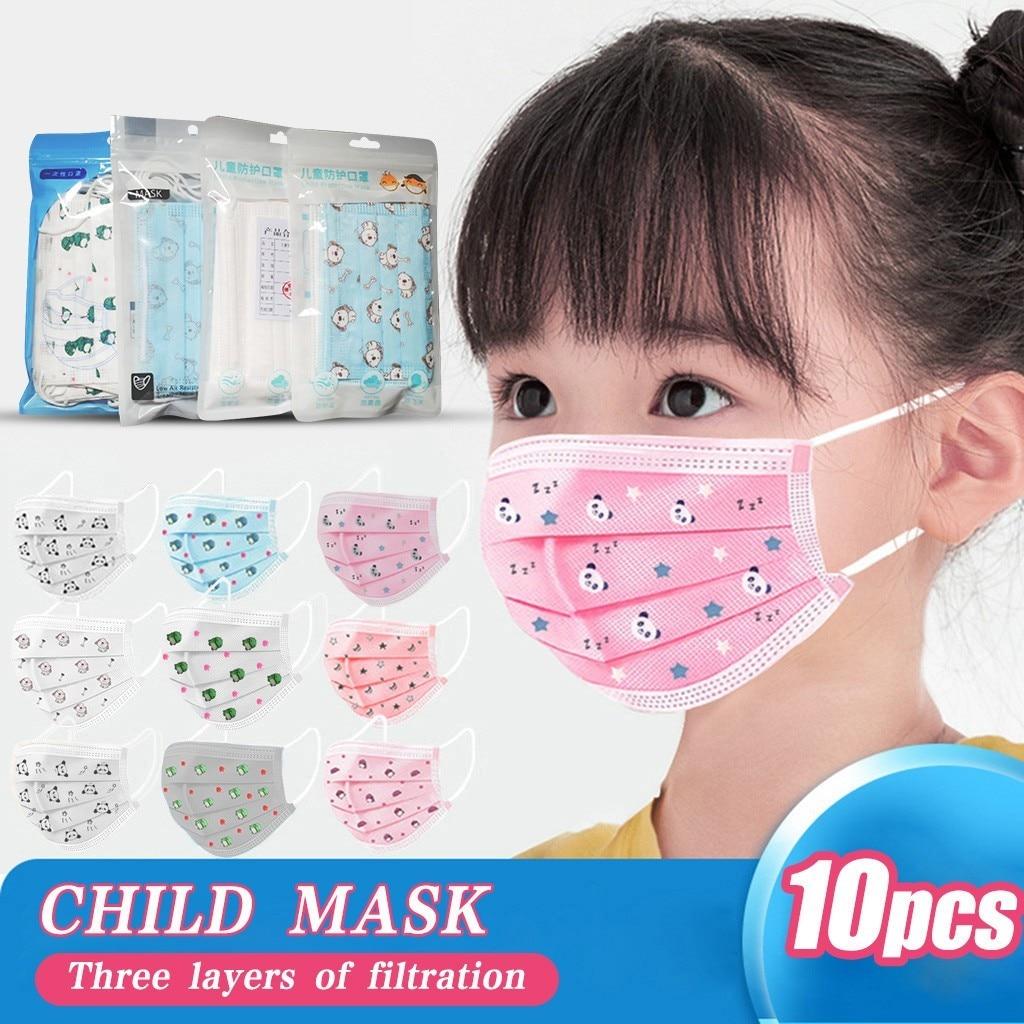 10pc Mascarillas De protection enfants enfants masque jetable masque facial industriel 3ply oreille boucle masque Mascherina Lavabile