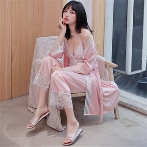 Image 2 - JULYS SONG New Woman Spring Sleepwear 3 Piece Sexy Lace Faux Silk Pajamas Set Women Lace Sling Sleeveless Trousers Summer Robe