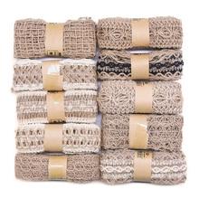 2m Cinta de arpillera de Yute Natural para envoltorio de regalo para manualidades DIY Vintage cinta de decoración para bodas fiesta suministros