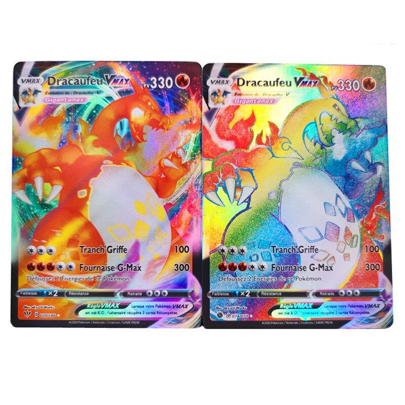 Карты Покемон карт Покемон франчеса с V VMAX GX EX Покемон торговая карточка французская карточка подарок на день рождения для ребенка