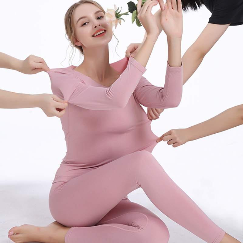 Women Seamless Thermal Underwear Suit Skinny Round Collar Long Johns Suit