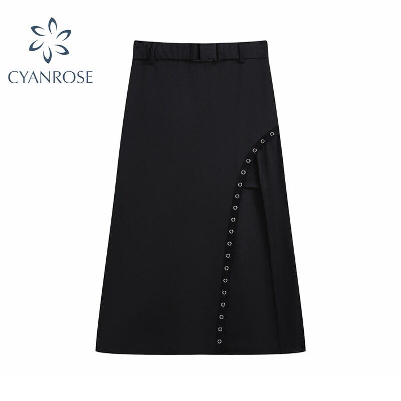 Женская юбка средней длины в готическом стиле, черная юбка с высокой талией и боковой пряжкой, сексуальная клубная юбка в стиле панк, Y2k, лето...