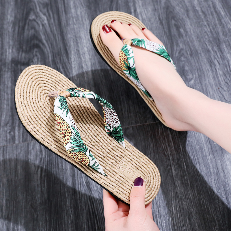 Women's Summer Slippers Flip-flops Floral Beach Slip On Shoes Ladies Flats Casual Slippers Outdoors Plus Size 35-41