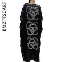 2020 nowa afrykańska diament 100% bawełna szyfonowa długa sukienka Dashiki z szalikiem dla pani afrykańskie ubrania 060 #