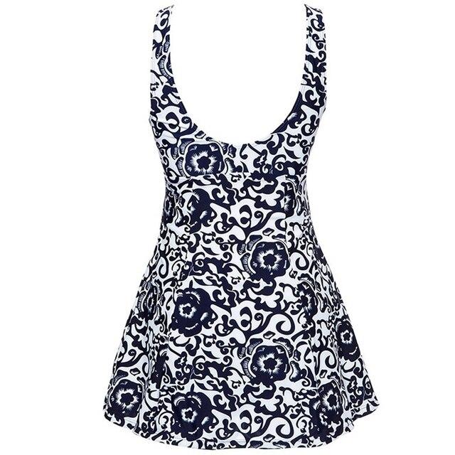 2019 New Vintage Print Large Size One piece Swimdress Women Swimwear Dress Big Plus size Bathing suit Skirt Female Swimsuit Wear 2