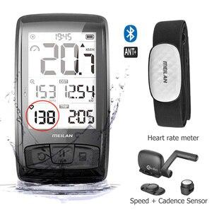 Image 1 - Беспроводной Велосипедный компьютер M4, велосипедный измеритель скорости с датчиком скорости и частоты вращения, можно подключить Bluetooth ANT + (установить монитор сердечного ритма)
