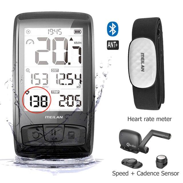 Беспроводной Велосипедный компьютер M4, велосипедный измеритель скорости с датчиком скорости и частоты вращения, можно подключить Bluetooth ANT + (установить монитор сердечного ритма)