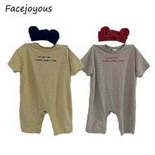 2020 Infant Soft Cotton Playsuit Newborn Infant Baby Boy Girls Romper Solid Butt
