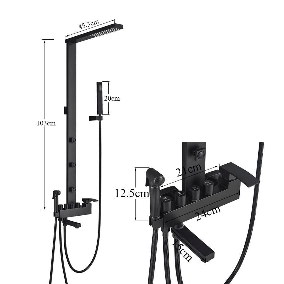 H06fdc4e290954522840723062439d3b1w Uythner Luxury Matte Black Bathroom Faucet Bath Rain Shower Faucet Wall Mounted Bathtub Shower Mixer Bidet Tap Shower Set Mixer