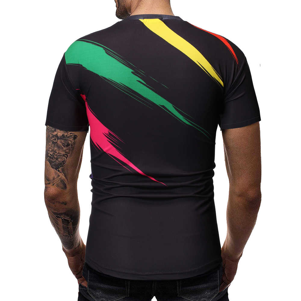 3Dプリント胸毛男性のtシャツカジュアル夏スタイルのファッション印刷半袖メンズtシャツシャツ色印刷アートst