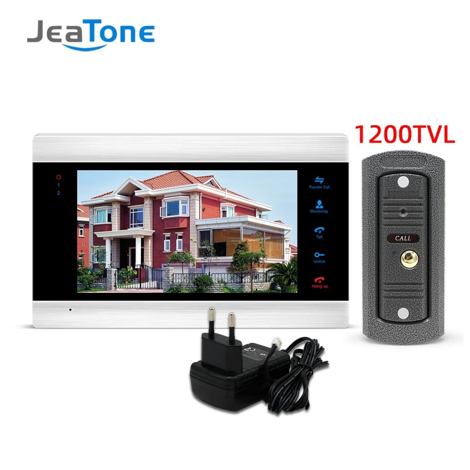 Jeatone Video Doorbell Video Intercom Video Door Phone 7 Inch Monitor 1200TVL Doorbell Camera 32G Memory Card Video Intercom Kit