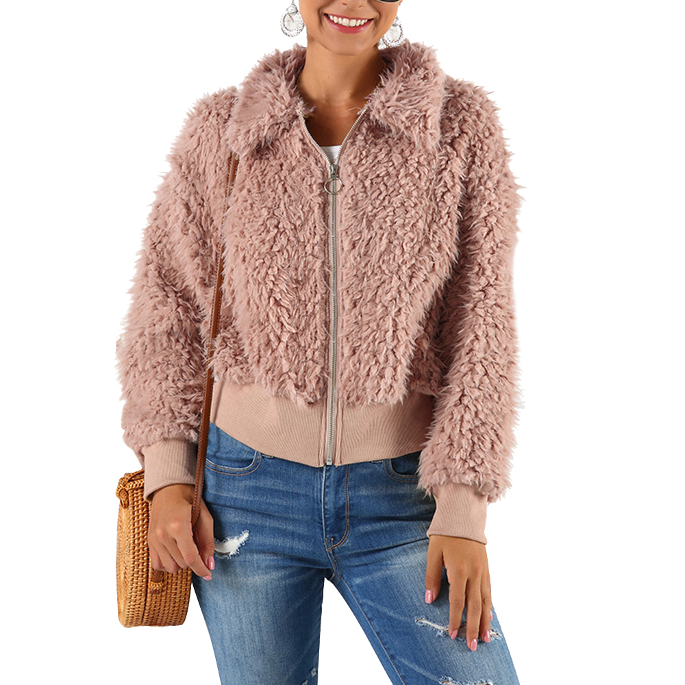 HEFLASHOR Women's Plush coat autumn winter Women Button Jacket Casual Warm turndown collar fur Outwear Mid-Length Woolen jackets 22