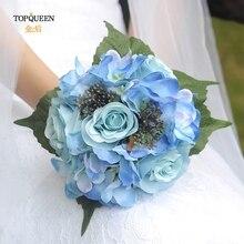 Роскошный свадебный букет невесты цветы синий цветок искусственный ф16