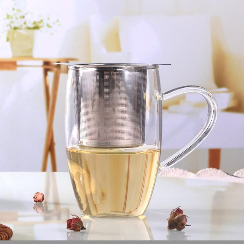 Reusable Stainless Steel Mesh Metal Tea Infuser Strainer Teapot Tea Leaf Spice Filter With Cover Drinkware Kitchen Accessories