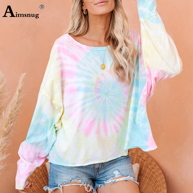 Camiseta informal de ocio para mujer, Blusa de manga larga con estampado Tie-dye, Camiseta holgada de talla grande 3xl para chica 2020 3