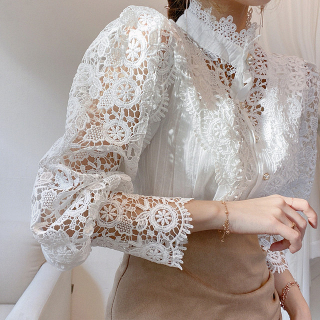 Gizmosy Chic Button Hollow Out Flower Lace Patchwork Shirt Stand Collar All-match Femme Blusas Petal Sleeve Women Blouses 6