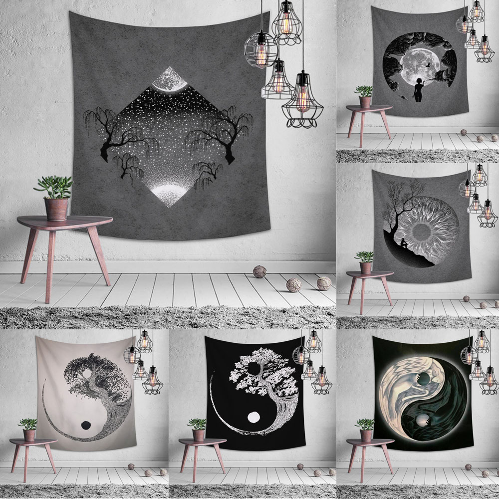 Tapestry Black White Tai Chi Chinese Taoist Style Wall Hanging Decoration Beach Mat Bedroom Living Room Window Home Decoration