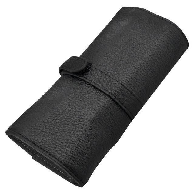Wancherของแท้กระเป๋าหนัง 5 ปากกากระเป๋าดินสอม้วนของขวัญกล่องป้องกันสีดำปากกา