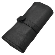 Wancher Genuine Leather pen bag 5 pen roll pencil bag gift box with black protective pen