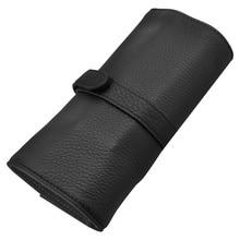 Wancher Genuino sacchetto di Cuoio della penna 5 penna del rullo sacchetto della matita del regalo con il nero di protezione penna
