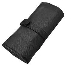 Wancher bolsa para bolígrafos de cuero genuino, 5 bolígrafos en rollo, caja de regalo con bolígrafo protector negro