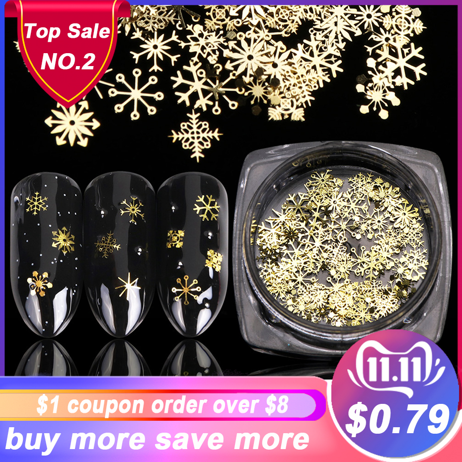 1 BOX Hollow Out Gold Nail Glitter Sequins Snow Flakes Mixed Design Decorations for Nail Arts Pillette Nail Accessories LA889 1-in Rhinestones & Decorations from Beauty & Health