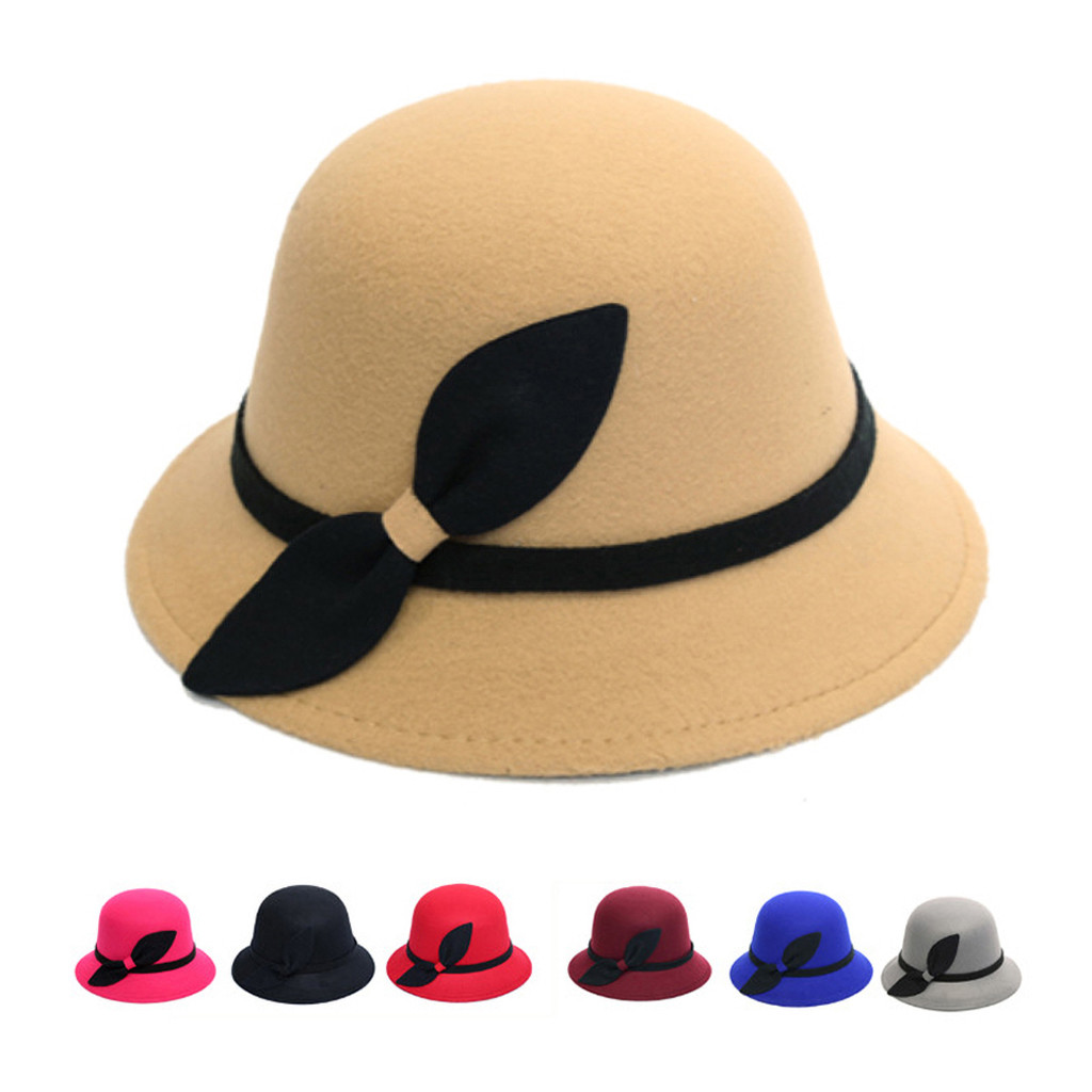 Are You Sure Not To Click In And See? Women Faux Wool Bucket Hats Fashion Bowler Cap With Bowknot Dropshipping And Wholesale