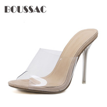 BOUSSAC 2019 PVC Jelly Sandals Open Toe High Heels Women Transparent Perspex Slippers Shoes Heel Clear Sandals size 35-42 qishimengjing 2019 ankle strap heels women sandals summer shoes women open toe chunky high heels party dress sandals