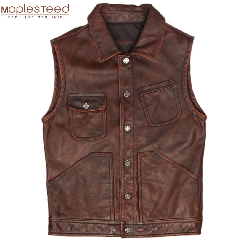 Vintage Leather Vest Men 100% Genuine Cowhide Leather Vest Men Leather Waistcoat Male Sleeveless Jacket Spring Autumn M366